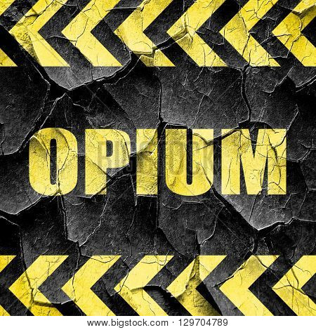opium, black and yellow rough hazard stripes