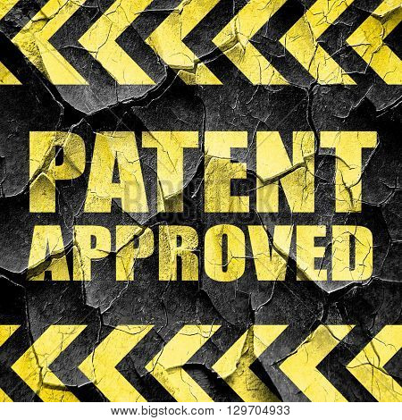 patent approved, black and yellow rough hazard stripes