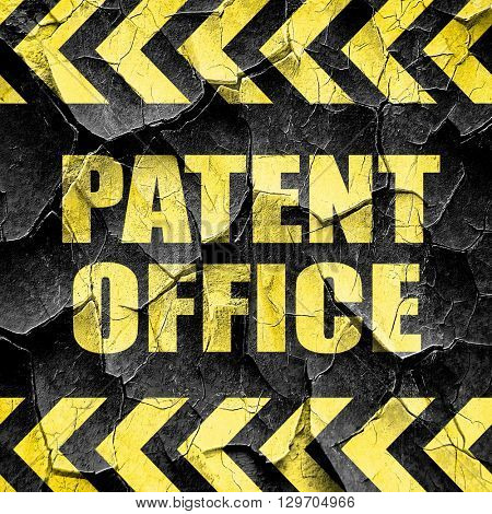 patent office, black and yellow rough hazard stripes