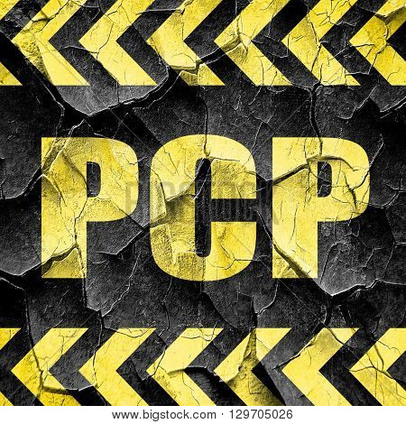 pcp, black and yellow rough hazard stripes