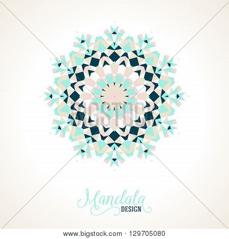 Vector ethnic colorful bohemian round ornament in blue colors. Abstract flower, snowflake or modern mandala with stars, triangles. Geometric background with Arabic, Indian, Moroccan, Aztec motifs.