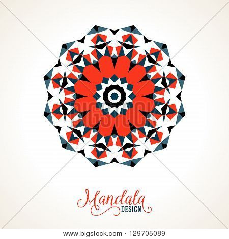 Vector ethnic colorful bohemian round ornament in bright red colors. Big abstract flower or mandala with stars, triangles. Geometric boho background with Arabic, Indian, Moroccan, Aztec motifs.