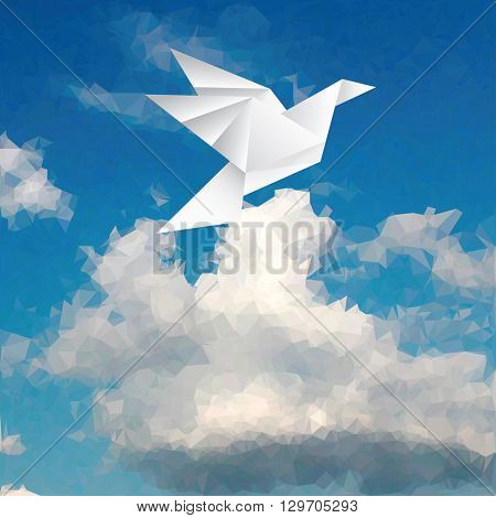 vector illustration with paper bird on triangulated sky, low poly