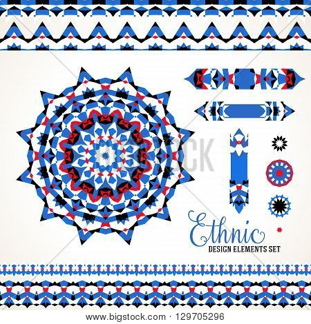 Vector ethnic colorful bohemian round ornament in blue colors with borders. Abstract flower or modern mandala with stars, triangles. Geometric background with Arabic, Indian, Moroccan, Aztec motif