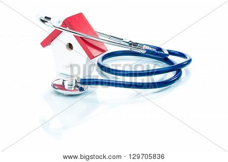 Family Health Concept, House Model With Stethoscope