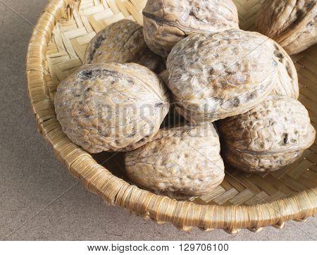 The texture of walnuts. A lot of Walnuts