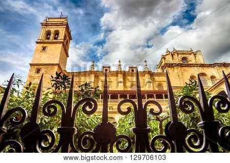 Close up of the iron gratings of the old cloister of the Monasterio de San Jeronimo and the main building, Granada, Andalucia, Spain.