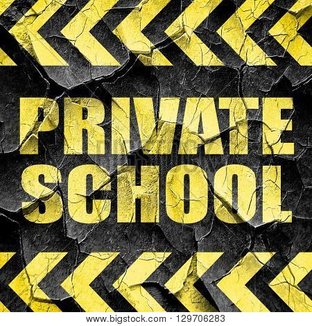 private school, black and yellow rough hazard stripes