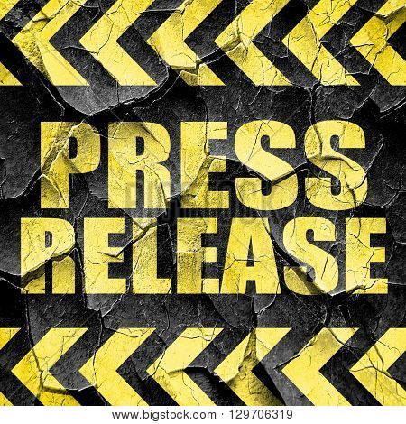 press release, black and yellow rough hazard stripes