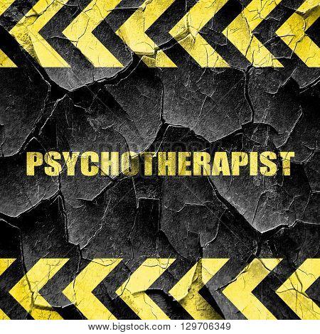 psychotherapist, black and yellow rough hazard stripes