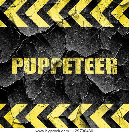 puppeteer, black and yellow rough hazard stripes