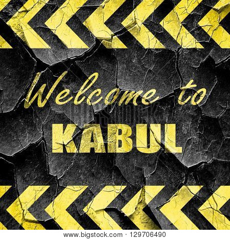 Welcome to kabul, black and yellow rough hazard stripes