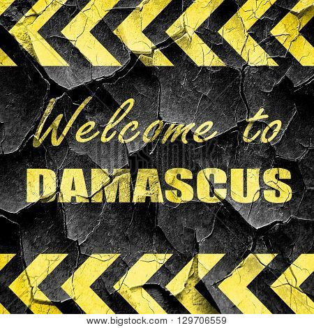 Welcome to damascus, black and yellow rough hazard stripes