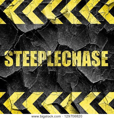 Steeplechase sign background, black and yellow rough hazard stri