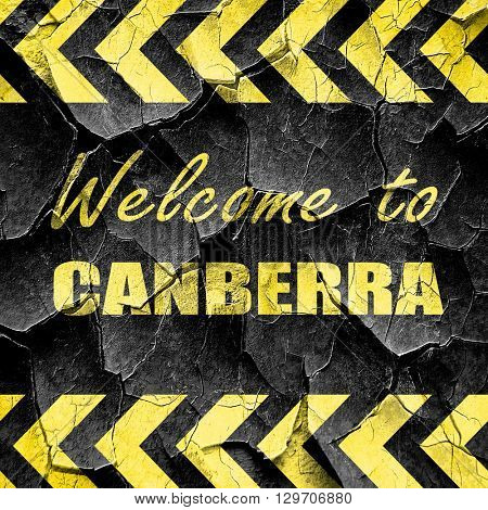Welcome to canberra, black and yellow rough hazard stripes