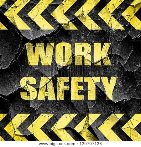 Work safety sign, black and yellow rough hazard stripes