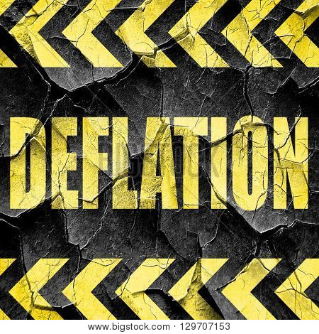 Deflation sign background, black and yellow rough hazard stripes