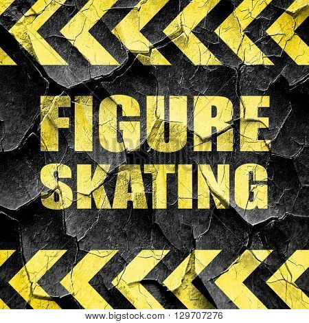figure skating sign background, black and yellow rough hazard st