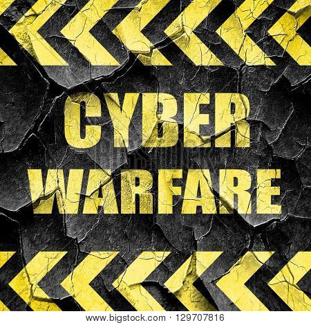 Cyber warfare background, black and yellow rough hazard stripes