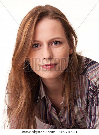 Handsome Young Girl In Striped Shirt