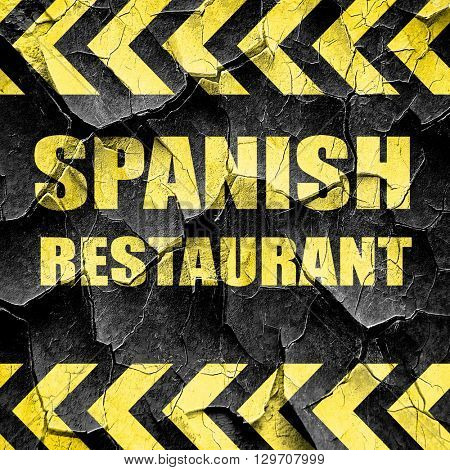 Delicious spanish cuisine, black and yellow rough hazard stripes