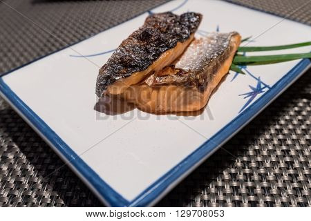 Salmon Shio grilled with salt in restuarant