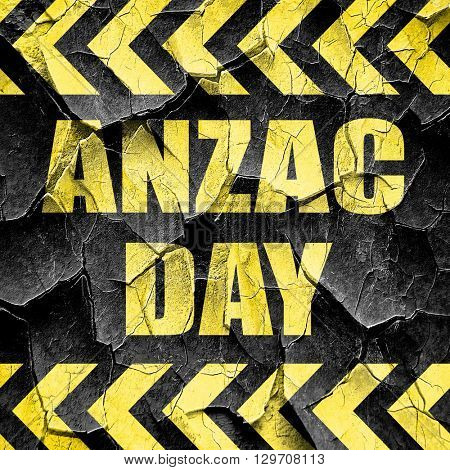 anzac day, black and yellow rough hazard stripes