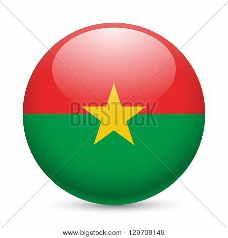 Flag of Burkina Faso as round glossy icon. Button with flag design