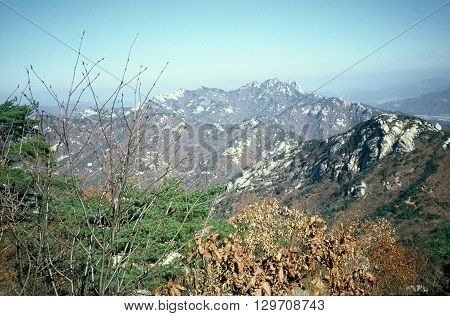 A view from Bukhansan Mountain, on the periphery of Seoul, Korea, circa 1987.