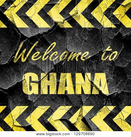 Welcome to ghana, black and yellow rough hazard stripes