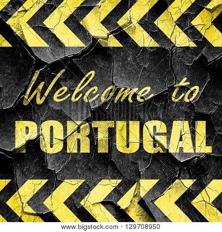 Welcome to portugal, black and yellow rough hazard stripes