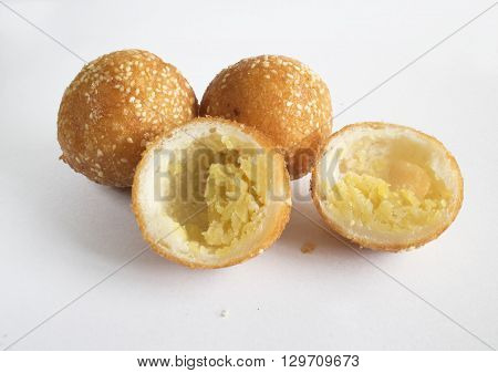 closeup of sesame seed cake for background uses (banh cam)