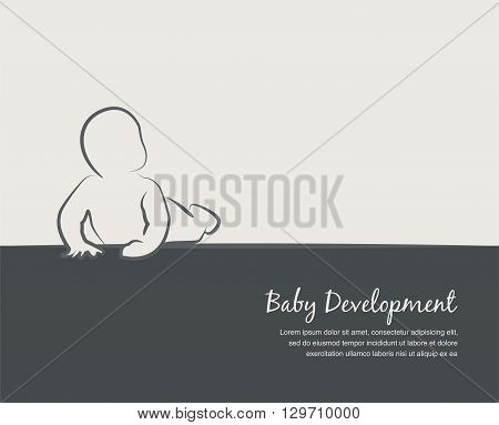 baby development icon, poster  design template with place for your text