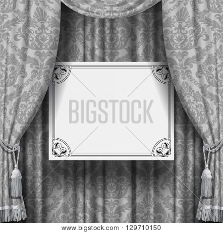Gray ornamental curtain with a suspended white sign with retro frame. Square vintage background. Artistic poster. 3D illustration