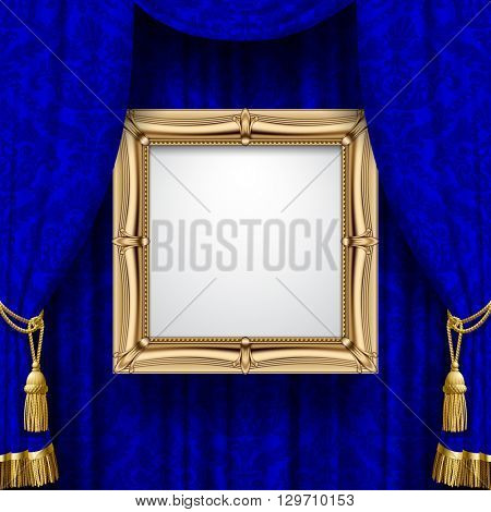 Blue ornamental curtain background with a suspended gold classic frame. Square presentation artistic poster and placard. 3D illustration