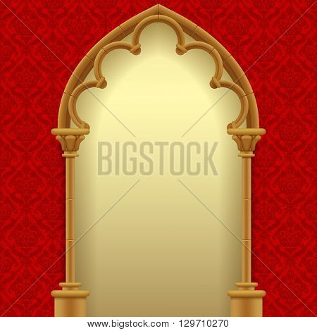 Gothic gate with red classic decorative background. Vintage architecture frame. Easy to place any your background instead of white. 3D illustration. Contain the Clipping Path
