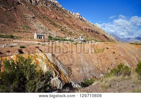 Chapel and remains of hotel. Puente del inca (The Inca's Bridge). Argentina. It is a natural arch that forms a bridge over the Mendoza River. It is located in Mendoza Province