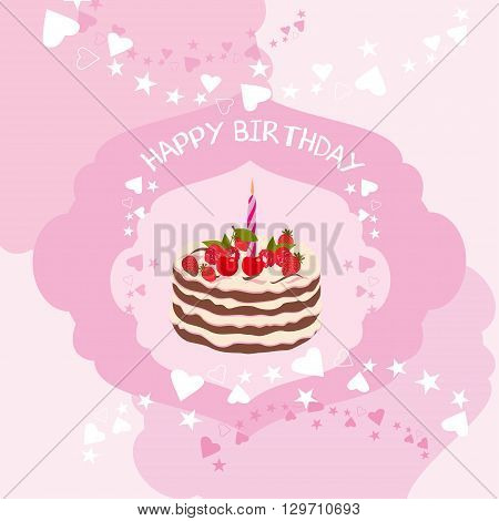 Birthday card set. Illustration of Birthday cake with a candle for cards or birthday card. Birthday, greeting and invitation card.  Template Birthday card vector illustration.