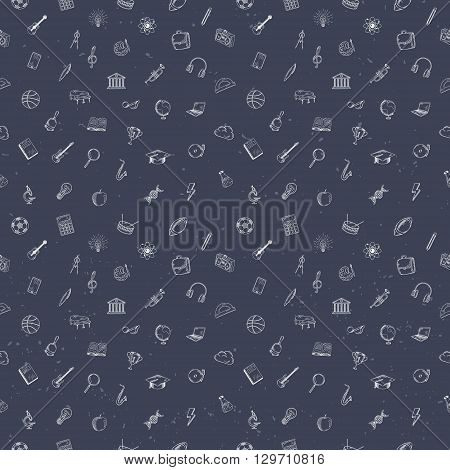 Hand drawn school, office and business icons seamless pattern.