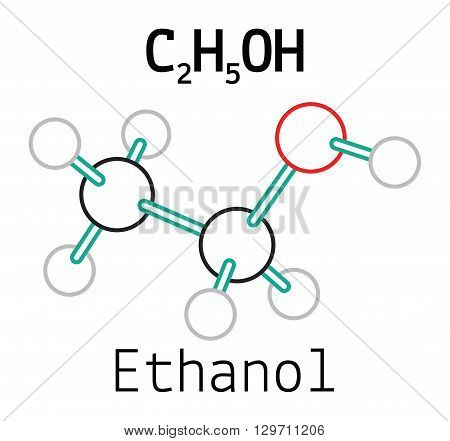 C2H5OH ethanol 3d molecule isolated on white