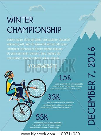 cycling competition poster.  cyclist in bicycle racing on the mountain