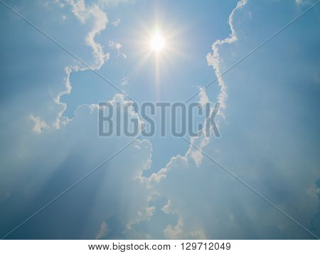 Beautiful sun sun light sun beam cloudy and blue sky for background