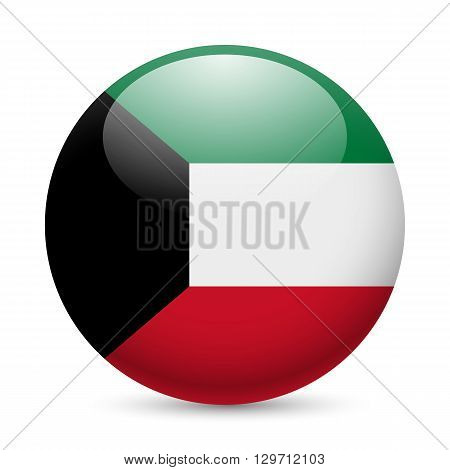 Flag of Kuwait as round glossy icon. Button with Kuwaiti flag