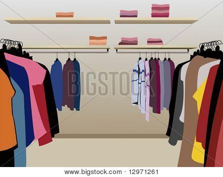 Постер, плакат:  Одежда в магазине вектор, холст на подрамнике