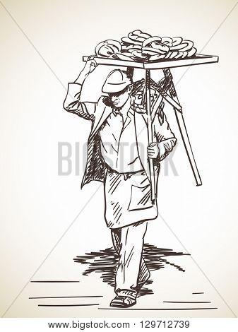 Sketch of Man carrying turkish street food bagels on his shoulder, Hand drawn illustration