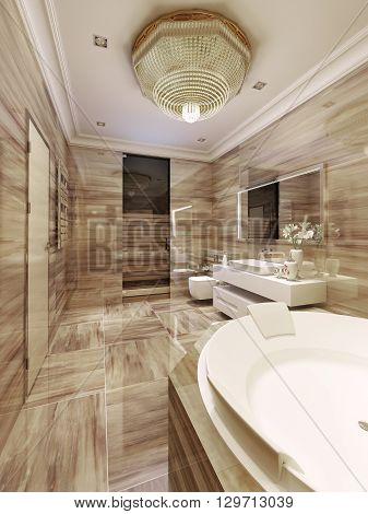 Avant-garde style bathroom with sauna. 3d render