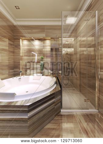 Art deco bathroom with shower. 3d render