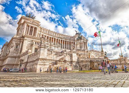 The famous National Monument the Vittoriano o Altare della Patria, Altar of the Fatherland, in Piazza Venezia, one of the Italian patriotic symbols located on the Campidoglio. Rome, Lazio, Italy.