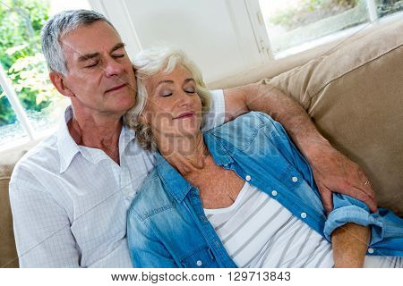 High angle view of senior couple relaxing on sofa in sitting room
