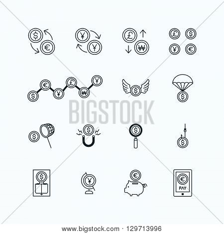 vector linear web icons set - business money currency coin concept collection of flat line design elements.